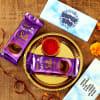 Bhai Dooj Tikka Thali with Customized Chocolate Box Online