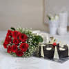 Bouquet of 10 Red Roses with a Half Kg Chocolate Cake Online