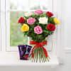 Bunch of 10 Mix Colour Roses & Cadbury Dairy Milk Fruit & Nut Online