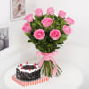 Bunch of 10 Pink Roses & Half Kg Round Black Forest Cake (Eggless) Online