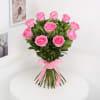 Gift Bunch of 10 Pink Roses with Namkeen & Bhujia