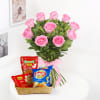 Bunch of 10 Pink Roses with Namkeen & Bhujia Online