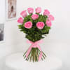 Gift Bunch of 10 Pink Roses with Whole Wheat Zucchini Chocolate Cake (Half Kg)