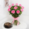 Bunch of 10 Pink Roses with Whole Wheat Zucchini Chocolate Cake (Half Kg) Online