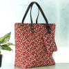 Gift Buta Motif Designer Handbag with Zipper Pouch