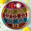 Gift Colorful Stripes Stone Work Decorative Puja Thali