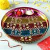 Colorful Stripes Stone Work Decorative Puja Thali Online