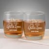 Do Great Things with Love Personalized Whiskey Glasses Online