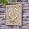 Gift Flower Design Wooden Name Plate