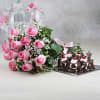 Half Kg Black Forest Cake with a Bunch of 12 Pink Roses Online
