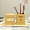 Personalized Digital Table Clock With Pen Stand Online