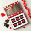 Gift Personalized Wooden Photo Frame with Heart Shaped Dark Chocolates (6 Pcs)