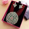 Shop Red Semi Precious Stone Work Kundan Necklace Set