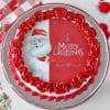 Gift Red Velvet Christmas Photo Cake (Half Kg)