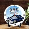 Gift Wooden Round Table Clock with Vintage Car