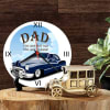 Wooden Round Table Clock with Vintage Car Online