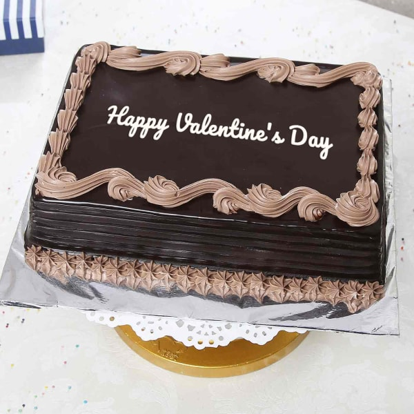 1 Kg Rectangular Chocolate Cake: Gift/Send Valentine's Day