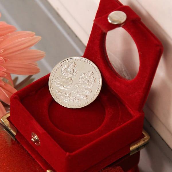 10 Gms Laxmi Ganesha Silver Coin