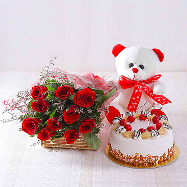 12 RED ROSES GATEAUX CAKE AND TEDDY