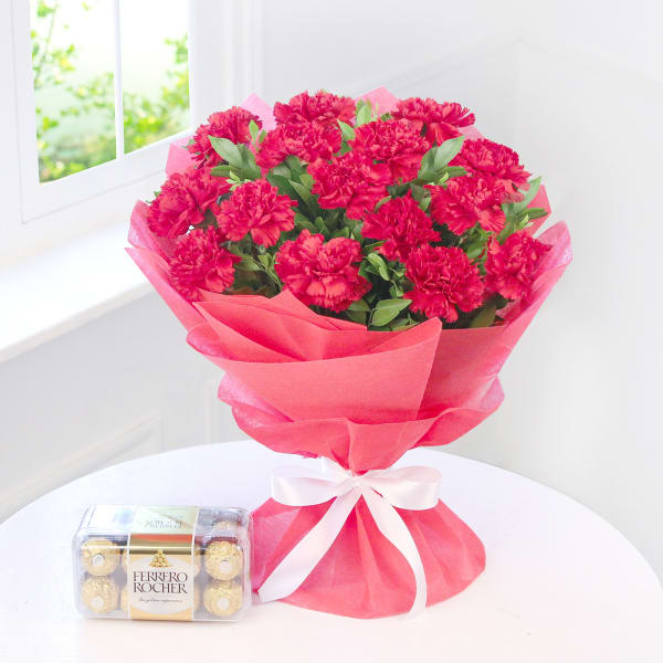 15 Red Carnations with a Box of Ferrero Rocher