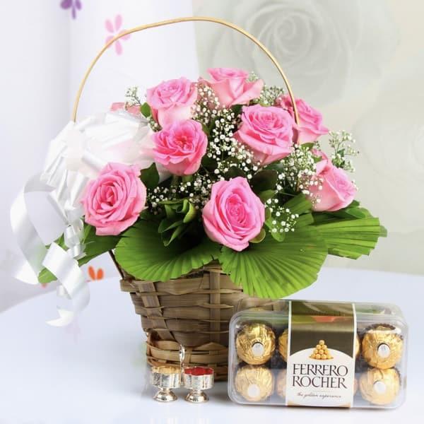 16 Pcs Ferrero Rocher with Rose Bouquet and Roli Chawal Tikka