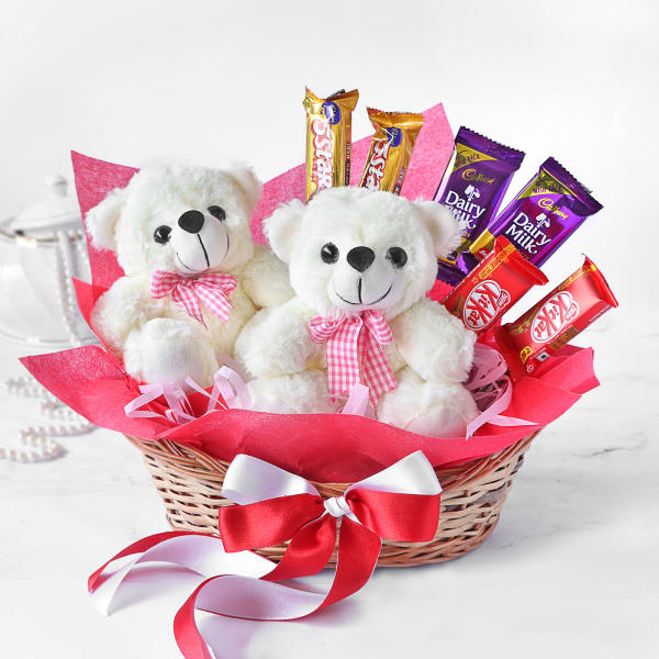 2 Teddy Bears with Chocolates in Basket