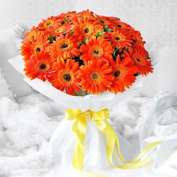 20 Orange Gerberas Bouquet in Elegant White Wrapping