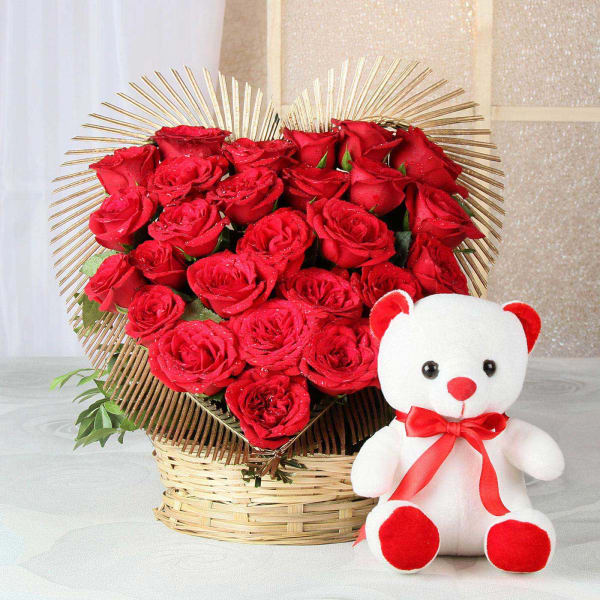 25 Heart Shaped Red Roses with Teddy