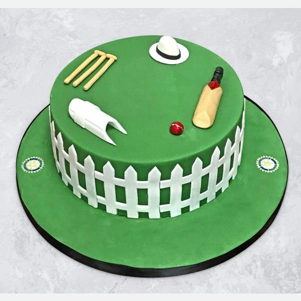 90 Not Out Cricket Field Birthday Fondant Cake (1 Kg)