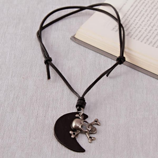 Adjustable Leather String Necklace with Skull Pendant