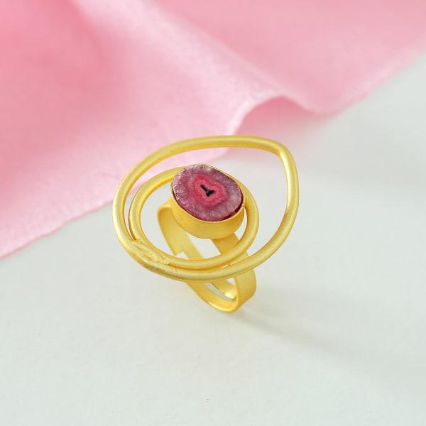 Adjustable Semi-Precious Stone Ring