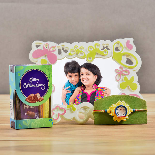 Adorable Kids Rakhi With Butterfly Personalized Photo Frame And