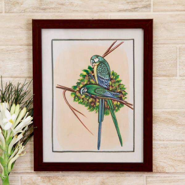 Adorable Love Birds Silk Painting