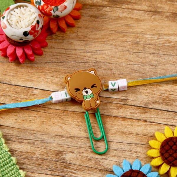Adorable Teddy Dial Kids Rakhi
