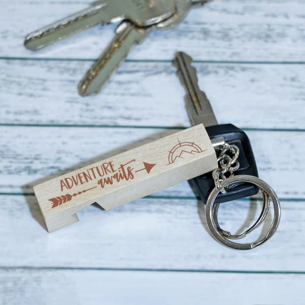 Adventure Awaits Personalized Wooden Keychain & Mobile Holder
