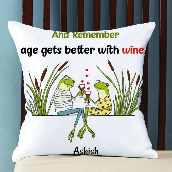 Age Gets Better with Wine Personalized Satin Pillow