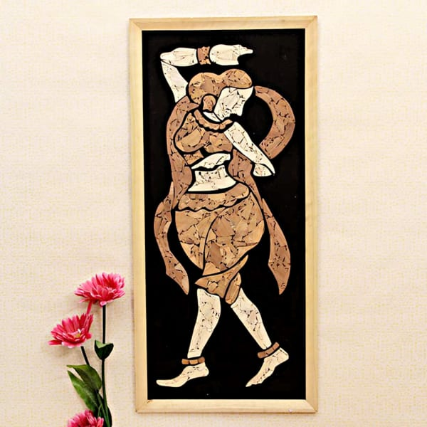 Ajanta Lady Collage Wooden Relief Framed Painting 30 Inch