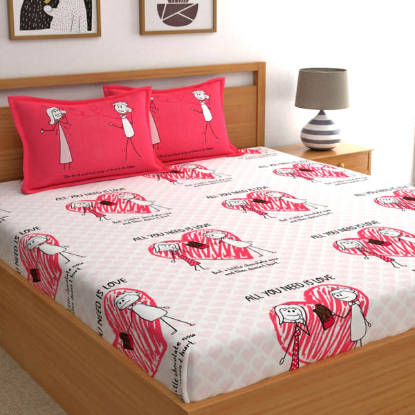 All You Need is Love Cotton Bedsheet with Pillow Covers