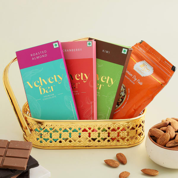 Almonds And Chocolates In Metal Basket