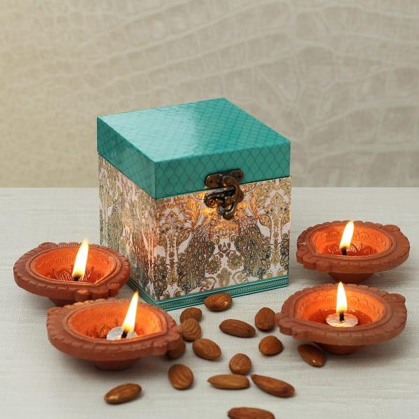 Almonds and Diya in Gift Box