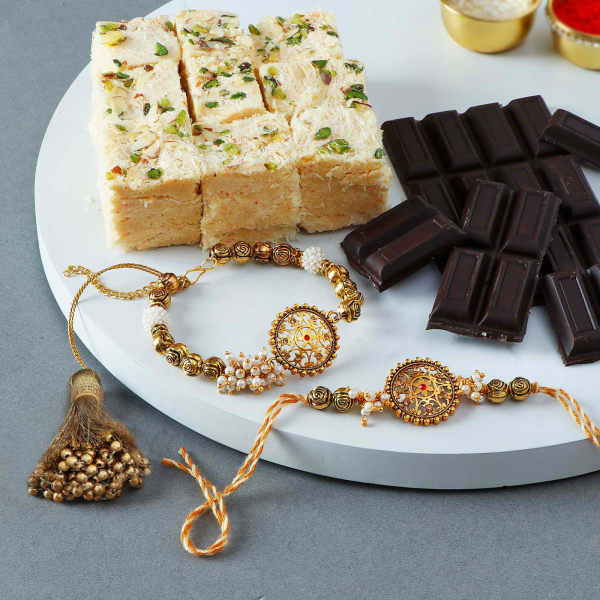 Antique Bhaiya Bhabhi Rakhis With Soan Papdi And Chocolate