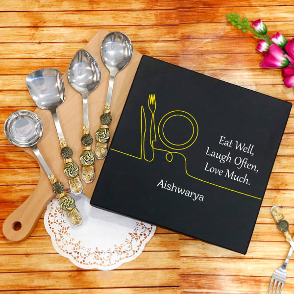 Antique Finish Mini Serving Spoons in Personalized Box (Set of 4)