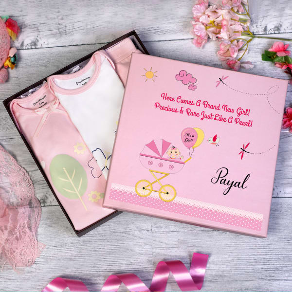 Apparels Set for Newborn Baby Girl in Personalized Box (3 Pcs)