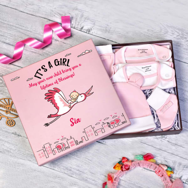 Apparels Set for Newborn Baby Girl in Personalized Box (5 Pcs)