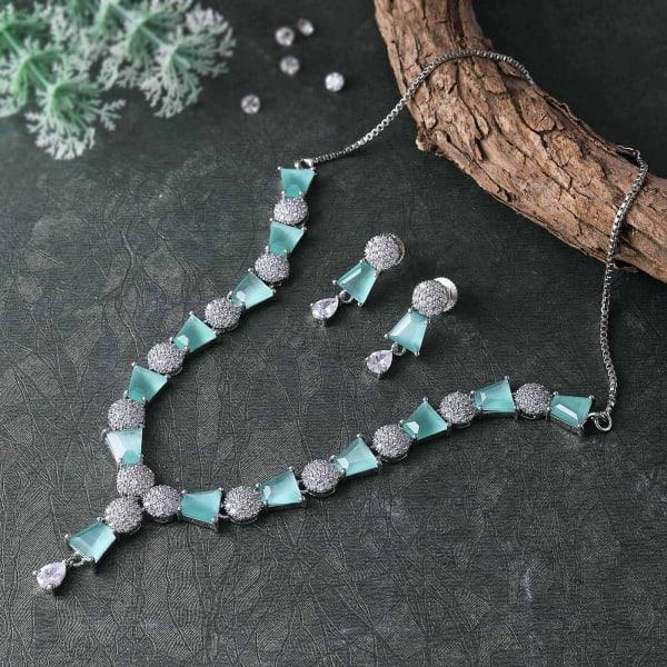 Aqua & White CZ Stone Necklace Set
