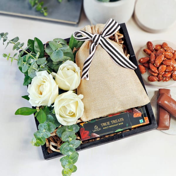 Aromatic Temptations Dry Fruits and Roses Gift Box