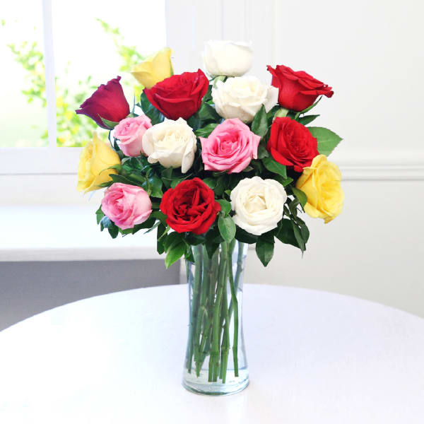 Arrangement of 15 Mix Roses in a Vase