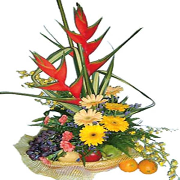 Arrangement of Cut Flowers with fruits