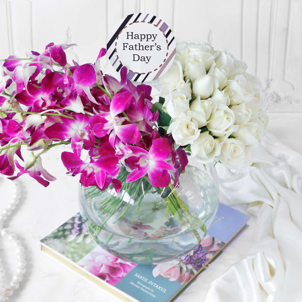 Assorted Flowers in Globe Vase for Father's Day (33 Stems)