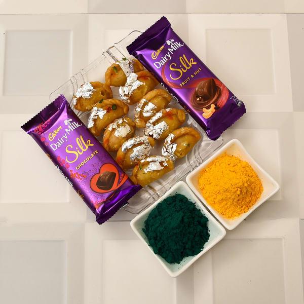 Assorted Holi Gulal with Baby Pagi Gujiya and Cadbury Chocolates